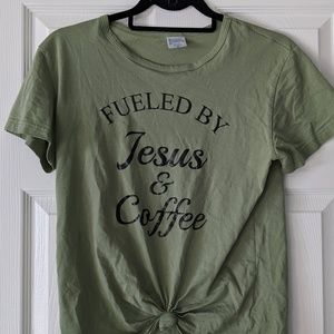 Tops - OLIVE GREEN TSHIRT WITH CUTE SAYING